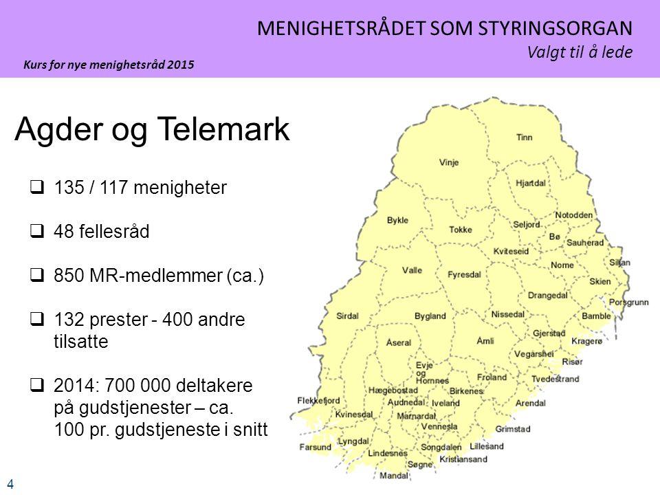 Kurs for nye menighetsråd 2015 4 MENIGHETSRÅDET SOM STYRINGSORGAN Valgt til å lede Agder og Telemark  135 / 117 menigheter  48 fellesråd  850 MR-medlemmer (ca.)  132 prester - 400 andre tilsatte  2014: 700 000 deltakere på gudstjenester – ca.