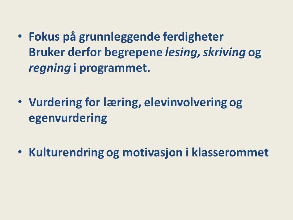 Fokus på grunnleggende ferdigheter Bruker derfor begrepene lesing, skriving og regning i programmet.