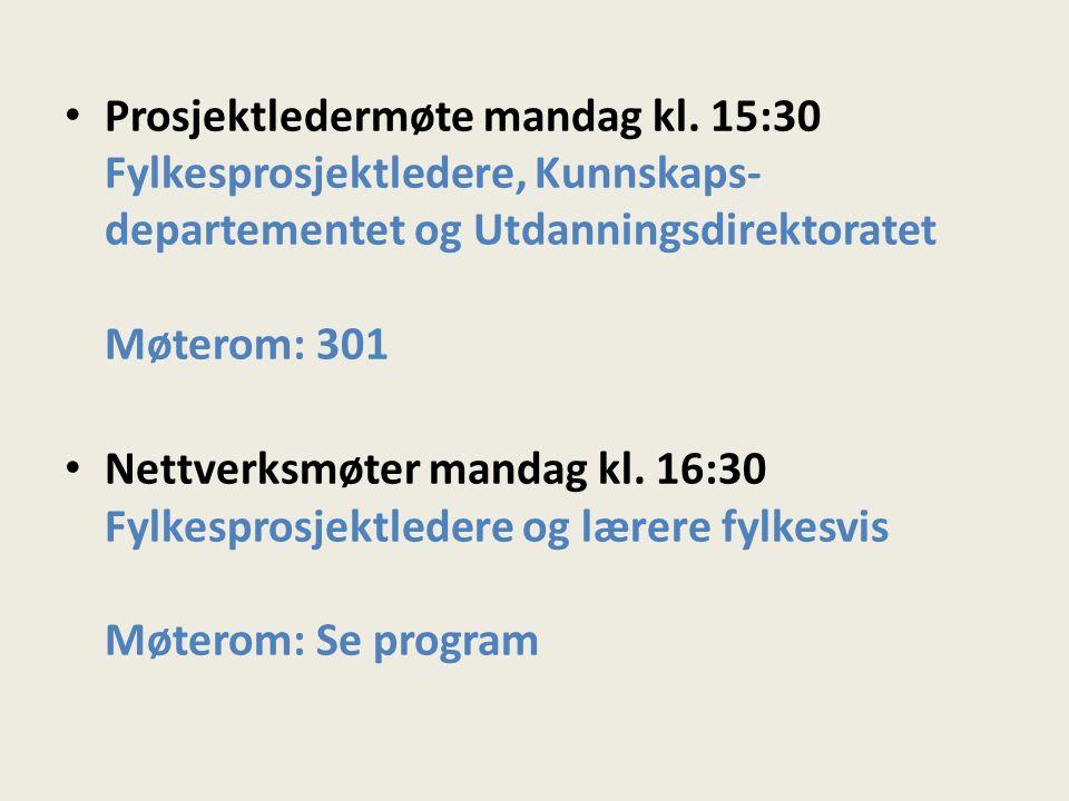 Prosjektledermøte mandag kl.