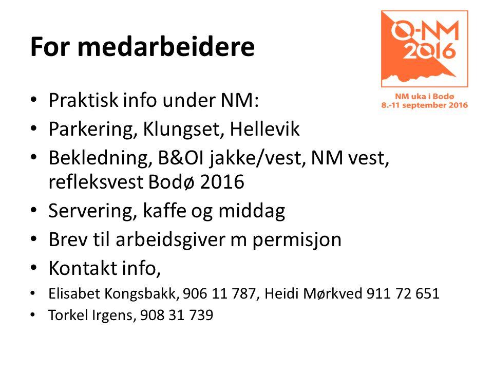 For medarbeidere Praktisk info under NM: Parkering, Klungset, Hellevik Bekledning, B&OI jakke/vest, NM vest, refleksvest Bodø 2016 Servering, kaffe og