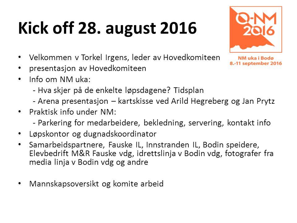 Kick off 28. august 2016 Velkommen v Torkel Irgens, leder av Hovedkomiteen presentasjon av Hovedkomiteen Info om NM uka: - Hva skjer på de enkelte løp
