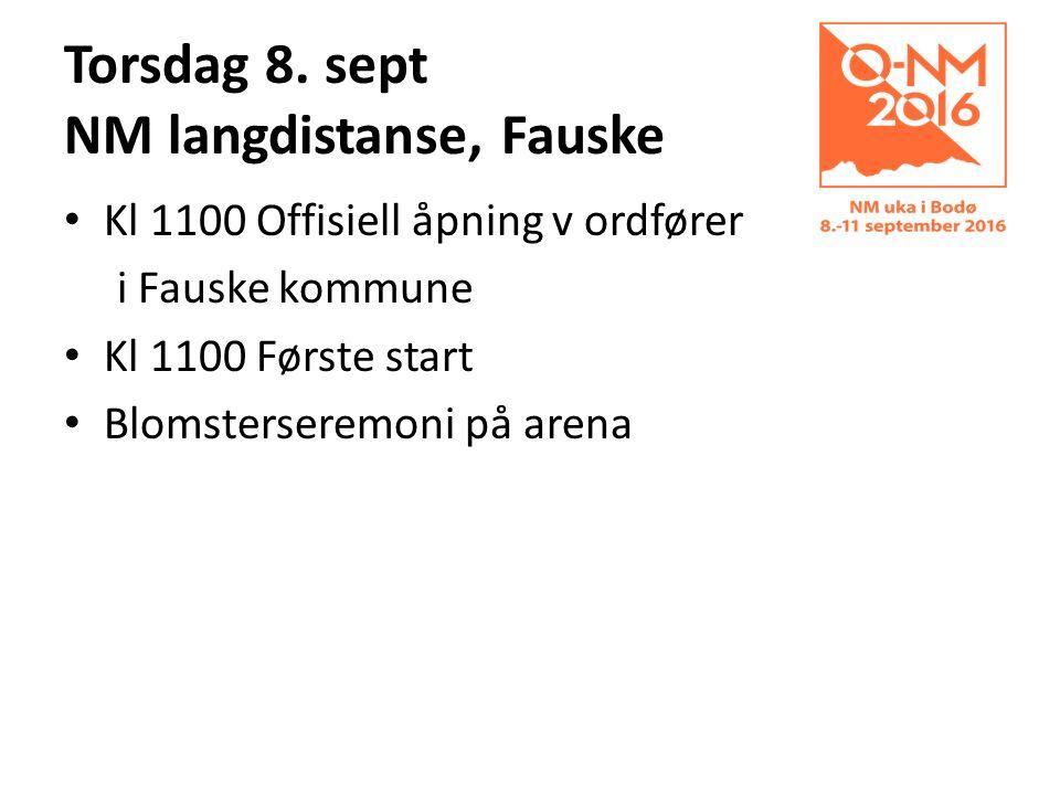 Torsdag 8. sept NM langdistanse, Fauske Kl 1100 Offisiell åpning v ordfører i Fauske kommune Kl 1100 Første start Blomsterseremoni på arena