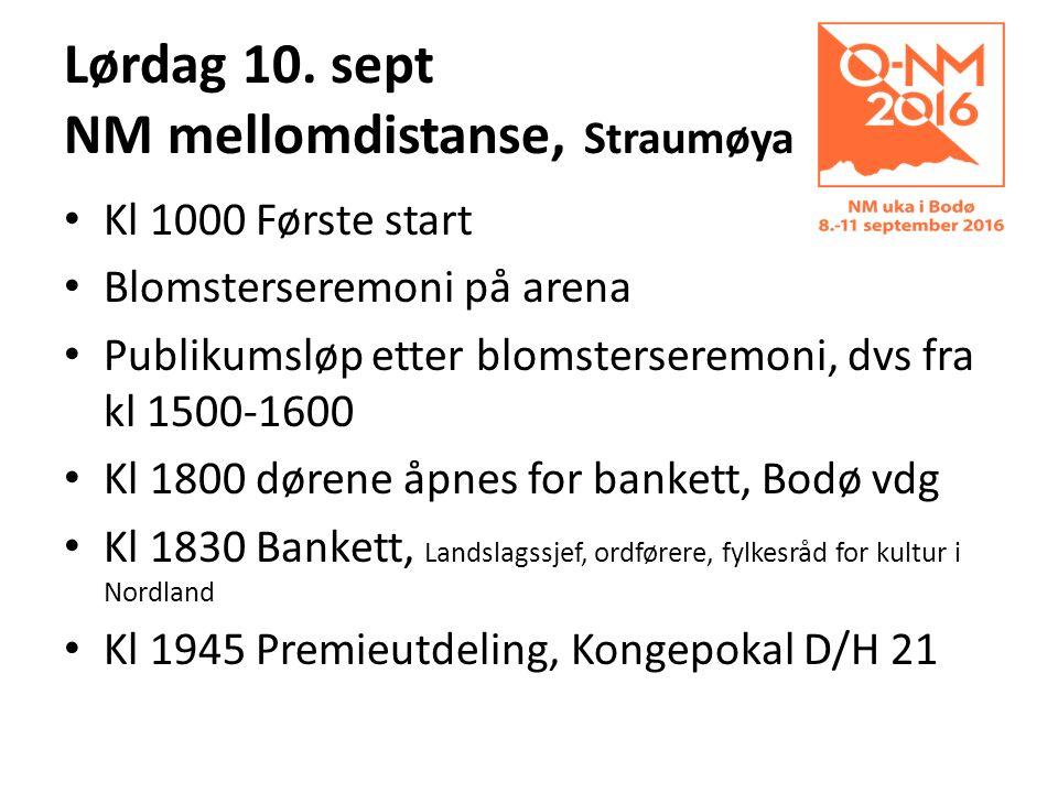 Lørdag 10. sept NM mellomdistanse, Straumøya Kl 1000 Første start Blomsterseremoni på arena Publikumsløp etter blomsterseremoni, dvs fra kl 1500-1600
