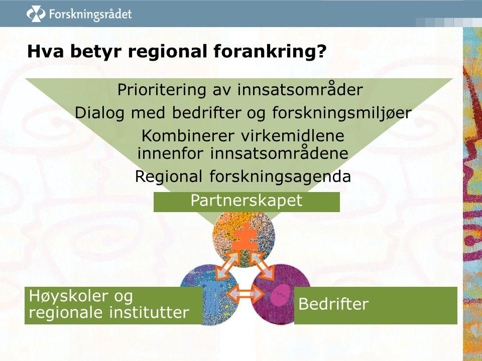 Hva betyr regional forankring? Partnerskapet Bedrifter Høyskoler og regionale institutter Prioritering av innsatsområder Dialog med bedrifter og forsk