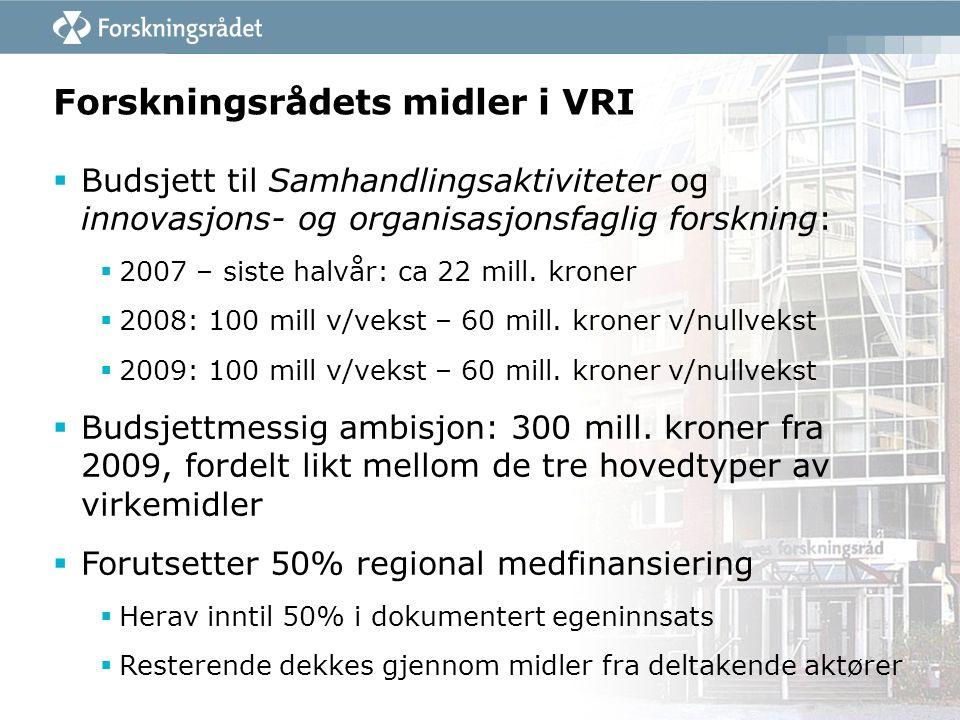 Forskningsrådets midler i VRI  Budsjett til Samhandlingsaktiviteter og innovasjons- og organisasjonsfaglig forskning:  2007 – siste halvår: ca 22 mi