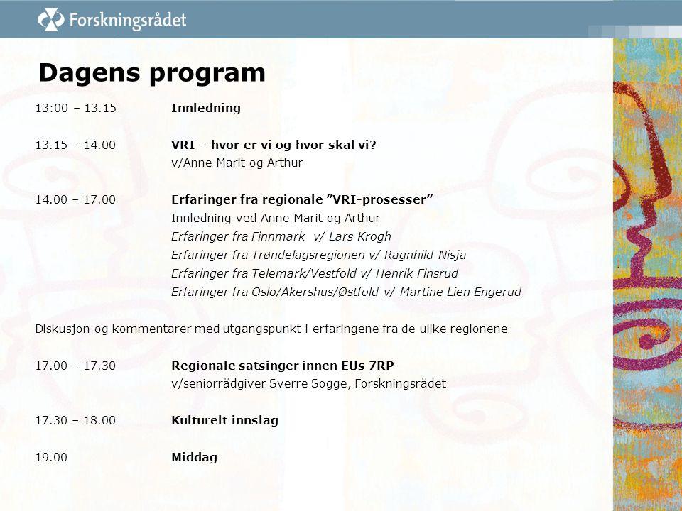 """Dagens program 13:00 – 13.15Innledning 13.15 – 14.00VRI – hvor er vi og hvor skal vi? v/Anne Marit og Arthur 14.00 – 17.00Erfaringer fra regionale """"VR"""
