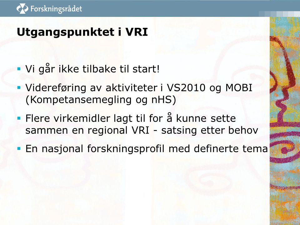 Utgangspunktet i VRI  Vi går ikke tilbake til start!  Videreføring av aktiviteter i VS2010 og MOBI (Kompetansemegling og nHS)  Flere virkemidler la
