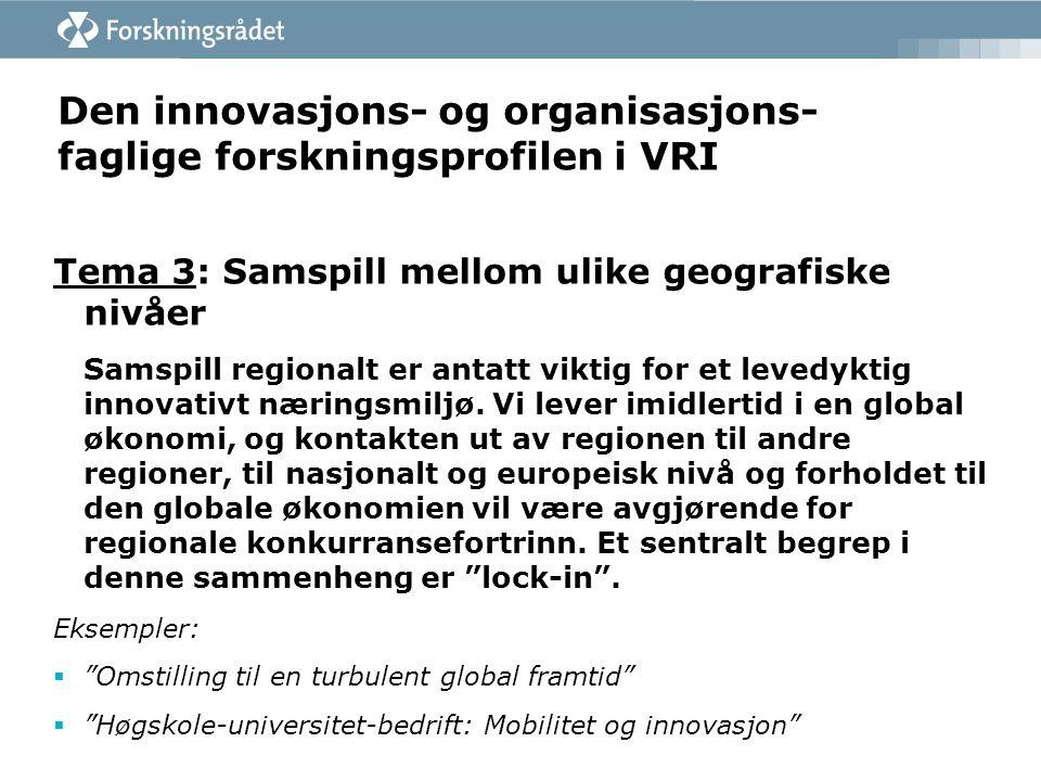 Den innovasjons- og organisasjons- faglige forskningsprofilen i VRI Tema 3: Samspill mellom ulike geografiske nivåer Samspill regionalt er antatt viktig for et levedyktig innovativt næringsmiljø.