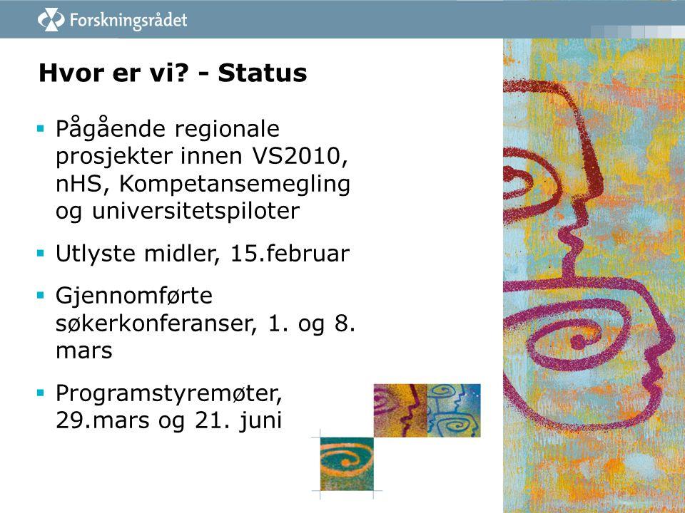 Hvor er vi? - Status  Pågående regionale prosjekter innen VS2010, nHS, Kompetansemegling og universitetspiloter  Utlyste midler, 15.februar  Gjenno