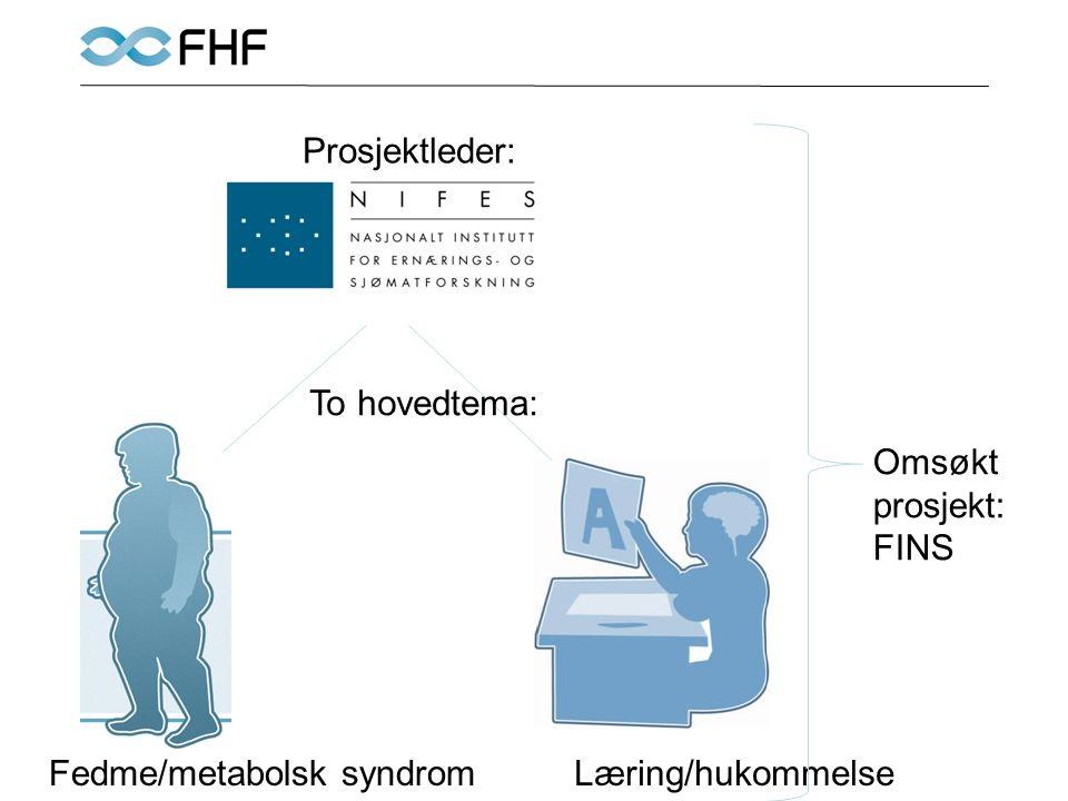 Fedme/metabolsk syndromLæring/hukommelse Prosjektleder: To hovedtema: Omsøkt prosjekt: FINS