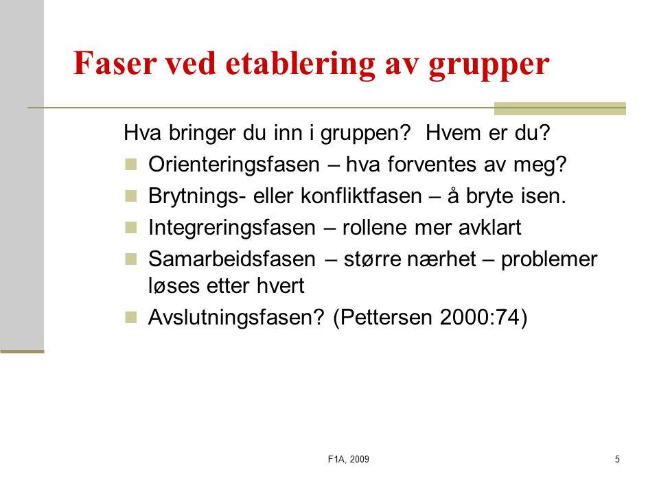 F1A, 20094 DIMENSJONER I GRUPPEKULTUREN Utfordringer Frihet Idéstøtte Tillit Dynamikk Humor Debatt Konflikter Risikotaking Idétid