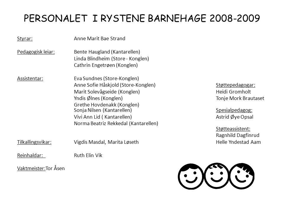 PERSONALET I RYSTENE BARNEHAGE 2008-2009 Styrar: Anne Marit Bae Strand Pedagogisk leiar:Bente Haugland (Kantarellen) Linda Blindheim (Store - Konglen)