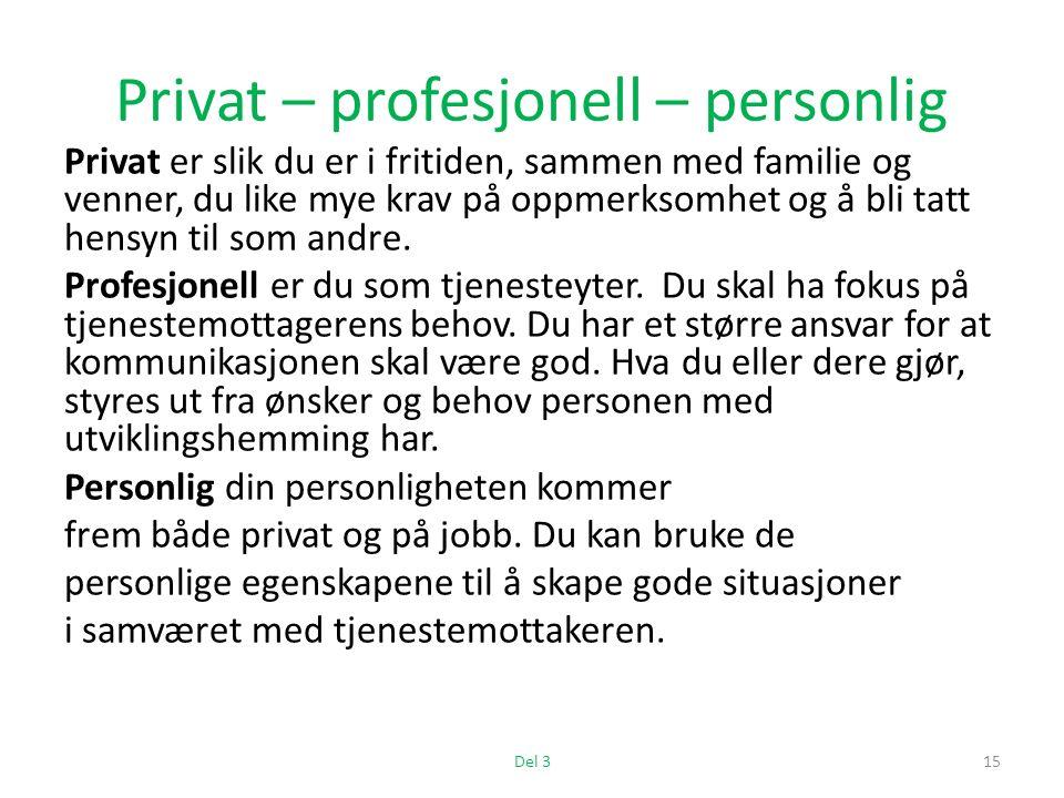 Privat – profesjonell – personlig Privat er slik du er i fritiden, sammen med familie og venner, du like mye krav på oppmerksomhet og å bli tatt hensyn til som andre.
