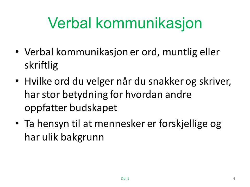 Verbal kommunikasjon Verbal kommunikasjon er ord, muntlig eller skriftlig Hvilke ord du velger når du snakker og skriver, har stor betydning for hvordan andre oppfatter budskapet Ta hensyn til at mennesker er forskjellige og har ulik bakgrunn Del 34