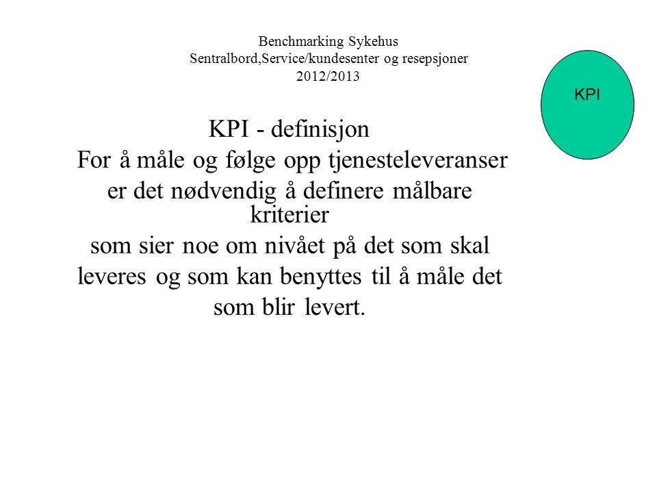 Benchmarking Sykehus Sentralbord,Service/kundesenter og resepsjoner 2012/2013 KPI Sentralbord KPI - definisjon For å måle og følge opp tjenesteleveran