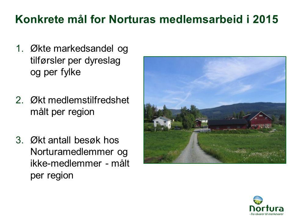 Konkrete mål for Norturas medlemsarbeid i 2015 1.Økte markedsandel og tilførsler per dyreslag og per fylke 2.Økt medlemstilfredshet målt per region 3.