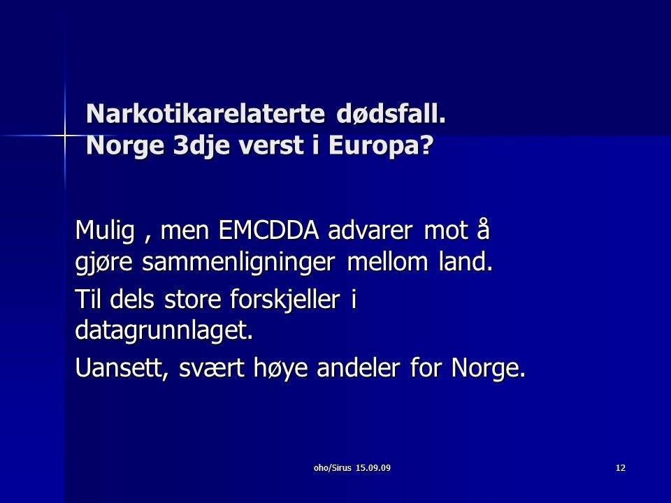 Narkotikarelaterte dødsfall. Norge 3dje verst i Europa.