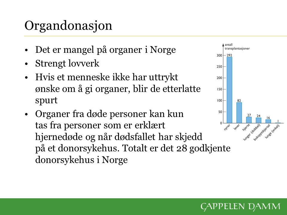 Organdonasjon Det er mangel på organer i Norge Strengt lovverk Hvis et menneske ikke har uttrykt ønske om å gi organer, blir de etterlatte spurt Organ