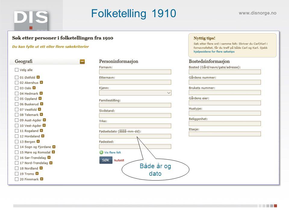 Både år og dato Folketelling 1910