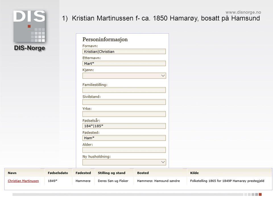 1)Kristian Martinussen f- ca. 1850 Hamarøy, bosatt på Hamsund