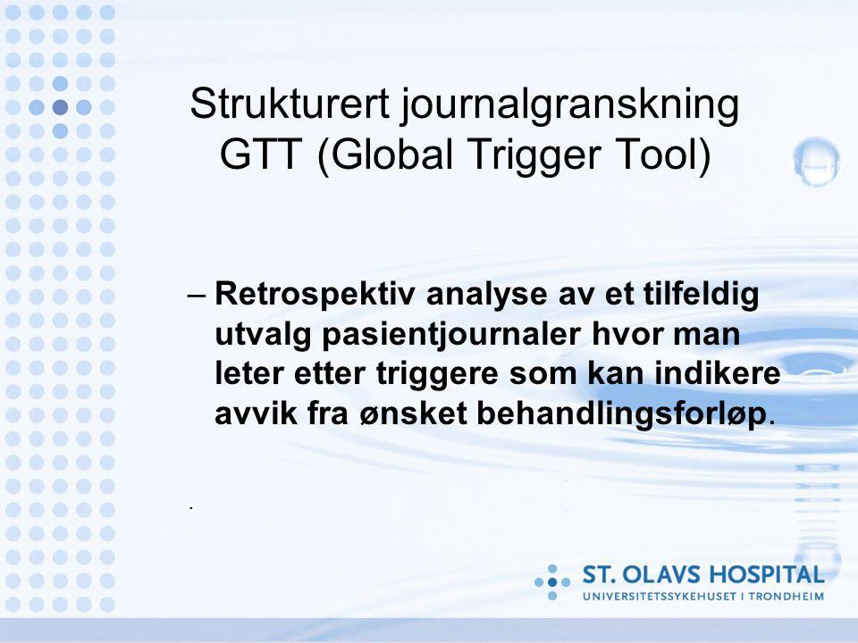 Strukturert journalgranskning GTT (Global Trigger Tool) –Retrospektiv analyse av et tilfeldig utvalg pasientjournaler hvor man leter etter triggere som kan indikere avvik fra ønsket behandlingsforløp..