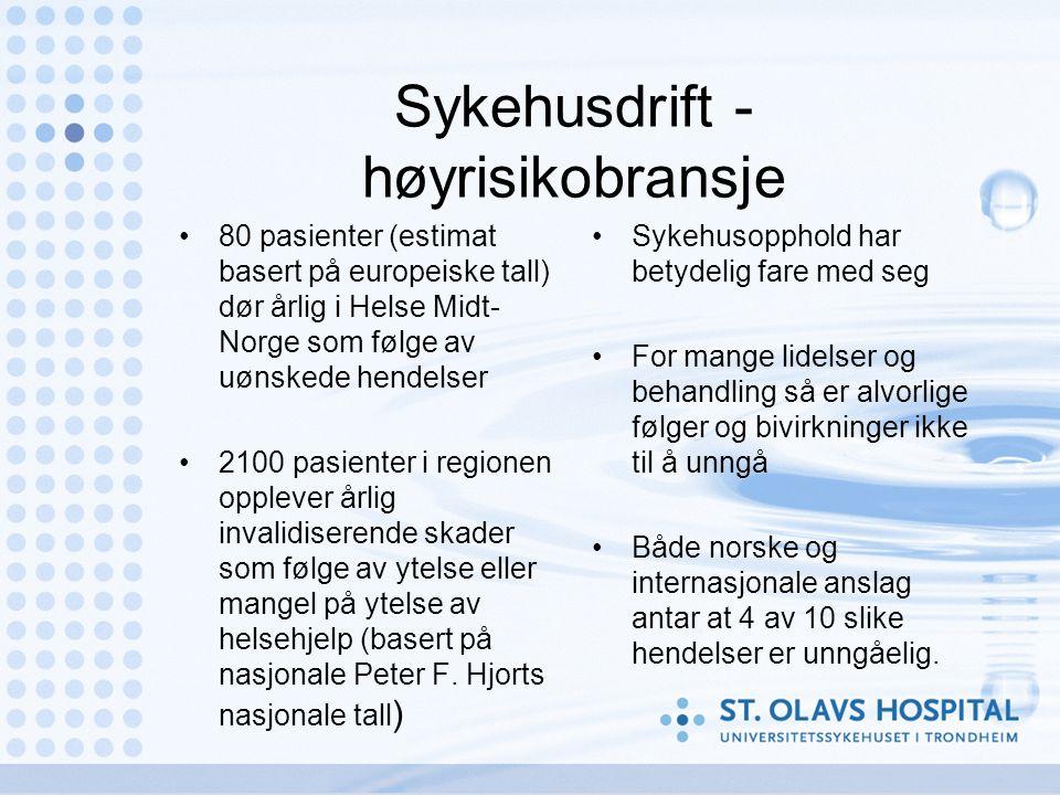 Sykehusdrift - høyrisikobransje 80 pasienter (estimat basert på europeiske tall) dør årlig i Helse Midt- Norge som følge av uønskede hendelser 2100 pasienter i regionen opplever årlig invalidiserende skader som følge av ytelse eller mangel på ytelse av helsehjelp (basert på nasjonale Peter F.