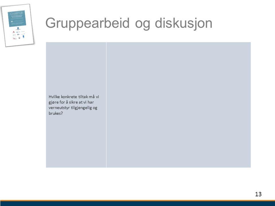 Gruppearbeid og diskusjon 13 Hvilke konkrete tiltak må vi gjøre for å sikre at vi har verneutstyr tilgjengelig og brukes?