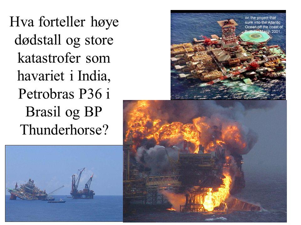 Hva forteller høye dødstall og store katastrofer som havariet i India, Petrobras P36 i Brasil og BP Thunderhorse