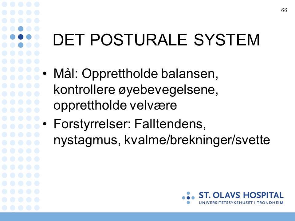66 DET POSTURALE SYSTEM Mål: Opprettholde balansen, kontrollere øyebevegelsene, opprettholde velvære Forstyrrelser: Falltendens, nystagmus, kvalme/brekninger/svette