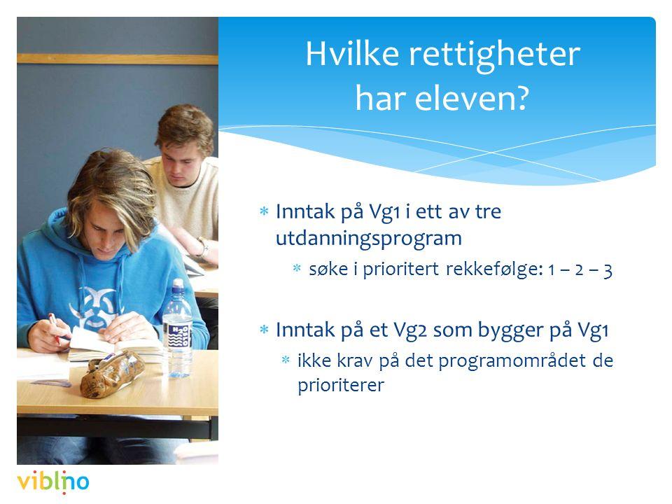  Inntak på Vg1 i ett av tre utdanningsprogram  søke i prioritert rekkefølge: 1 – 2 – 3  Inntak på et Vg2 som bygger på Vg1  ikke krav på det programområdet de prioriterer Hvilke rettigheter har eleven