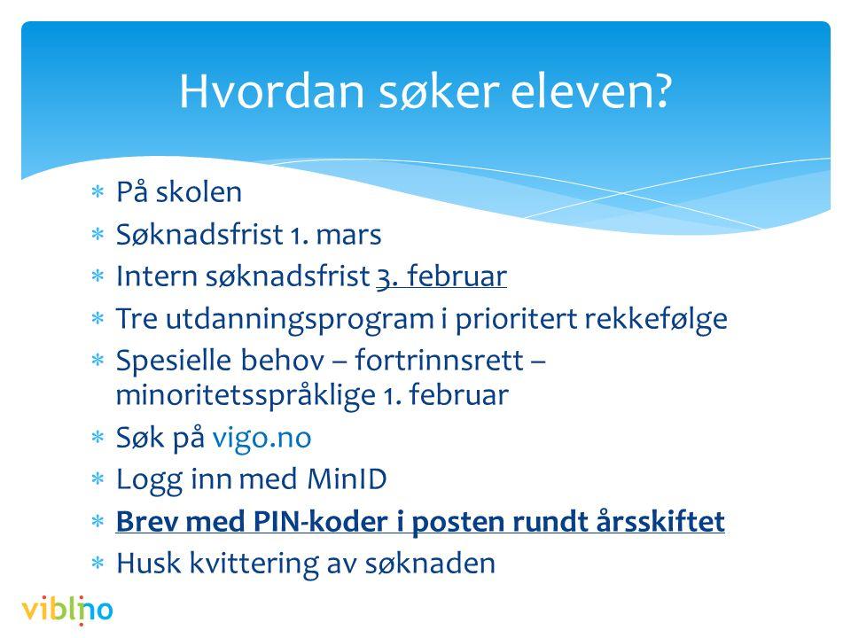 Hvordan søker eleven?  På skolen  Søknadsfrist 1. mars  Intern søknadsfrist 3. februar  Tre utdanningsprogram i prioritert rekkefølge  Spesielle