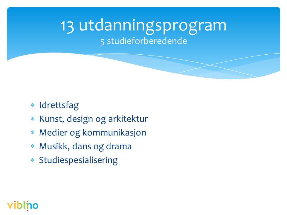  Idrettsfag  Kunst, design og arkitektur  Medier og kommunikasjon  Musikk, dans og drama  Studiespesialisering 13 utdanningsprogram 5 studieforbe