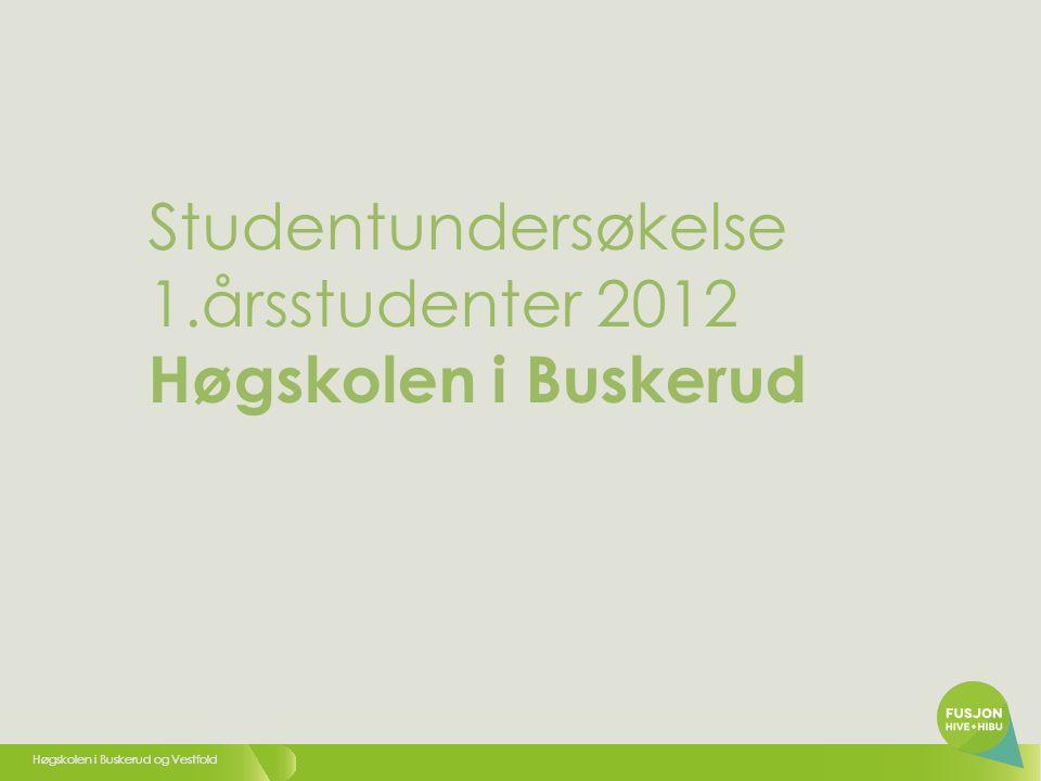 Høgskolen i Buskerud og Vestfold Studentundersøkelse 1.årsstudenter 2012 Høgskolen i Buskerud