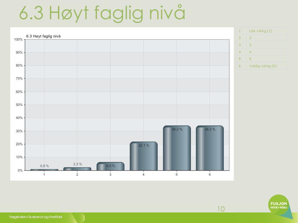 Høgskolen i Buskerud og Vestfold 10 6.3 Høyt faglig nivå 1Lite viktig (1) 22 33 44 55 6Veldig viktig (6)