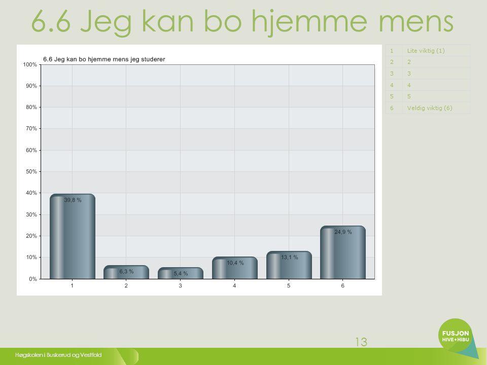 Høgskolen i Buskerud og Vestfold 13 6.6 Jeg kan bo hjemme mens jeg studerer 1Lite viktig (1) 22 33 44 55 6Veldig viktig (6)