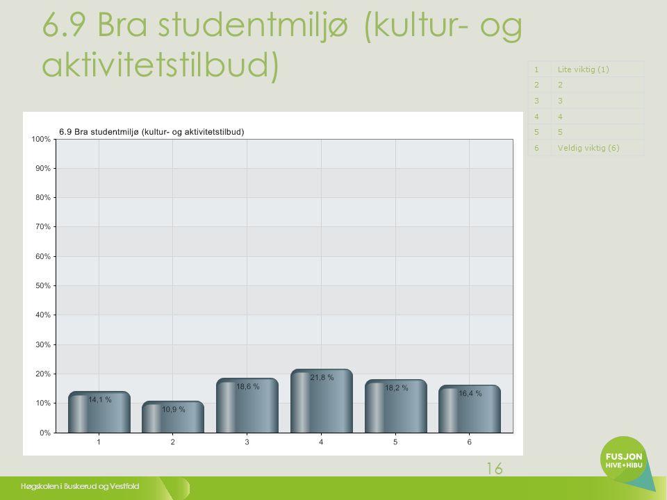Høgskolen i Buskerud og Vestfold 16 6.9 Bra studentmiljø (kultur- og aktivitetstilbud) 1Lite viktig (1) 22 33 44 55 6Veldig viktig (6)