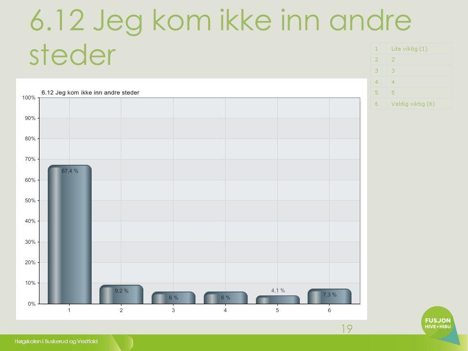 Høgskolen i Buskerud og Vestfold 19 6.12 Jeg kom ikke inn andre steder 1Lite viktig (1) 22 33 44 55 6Veldig viktig (6)