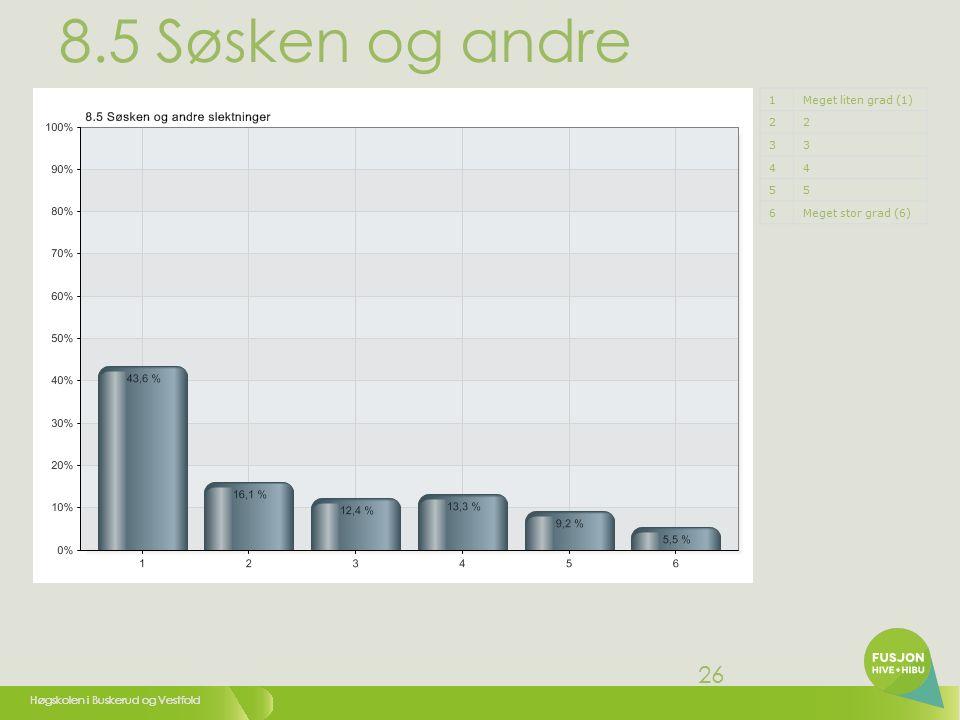 Høgskolen i Buskerud og Vestfold 26 8.5 Søsken og andre slektninger 1Meget liten grad (1) 22 33 44 55 6Meget stor grad (6)