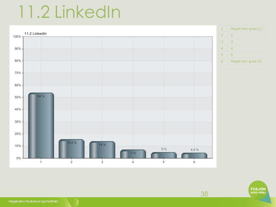 Høgskolen i Buskerud og Vestfold 38 11.2 LinkedIn 1Meget liten grad (1) 22 33 44 55 6Meget stor grad (6)