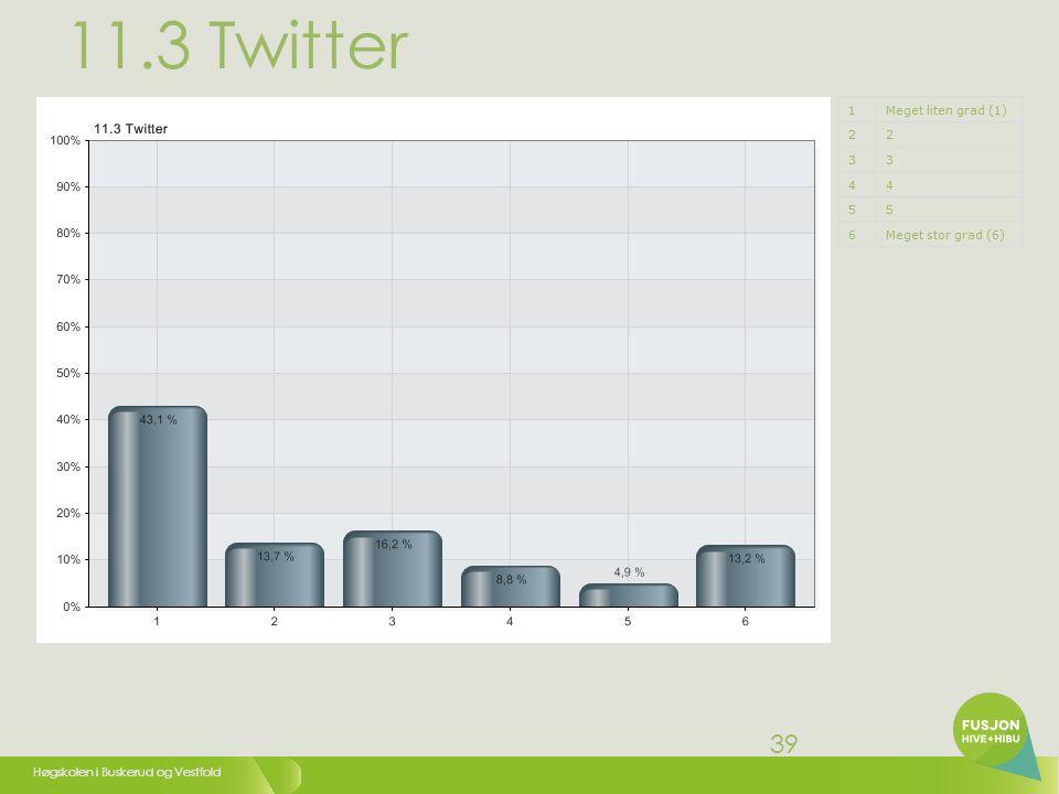 Høgskolen i Buskerud og Vestfold 39 11.3 Twitter 1Meget liten grad (1) 22 33 44 55 6Meget stor grad (6)