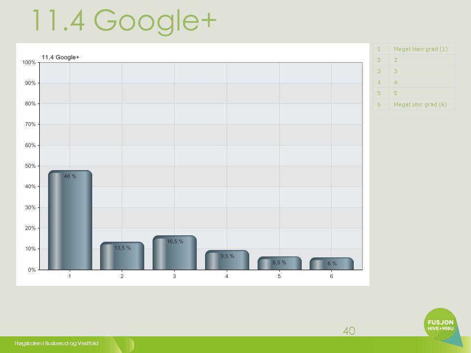 Høgskolen i Buskerud og Vestfold 40 11.4 Google+ 1Meget liten grad (1) 22 33 44 55 6Meget stor grad (6)
