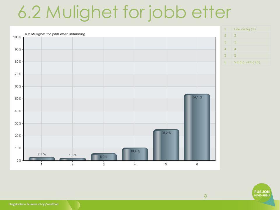 Høgskolen i Buskerud og Vestfold 9 6.2 Mulighet for jobb etter utdanning 1Lite viktig (1) 22 33 44 55 6Veldig viktig (6)