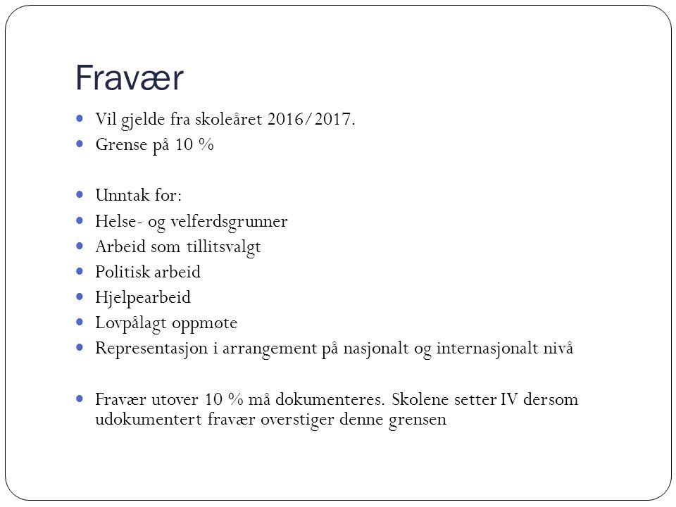 Fravær Vil gjelde fra skoleåret 2016/2017.