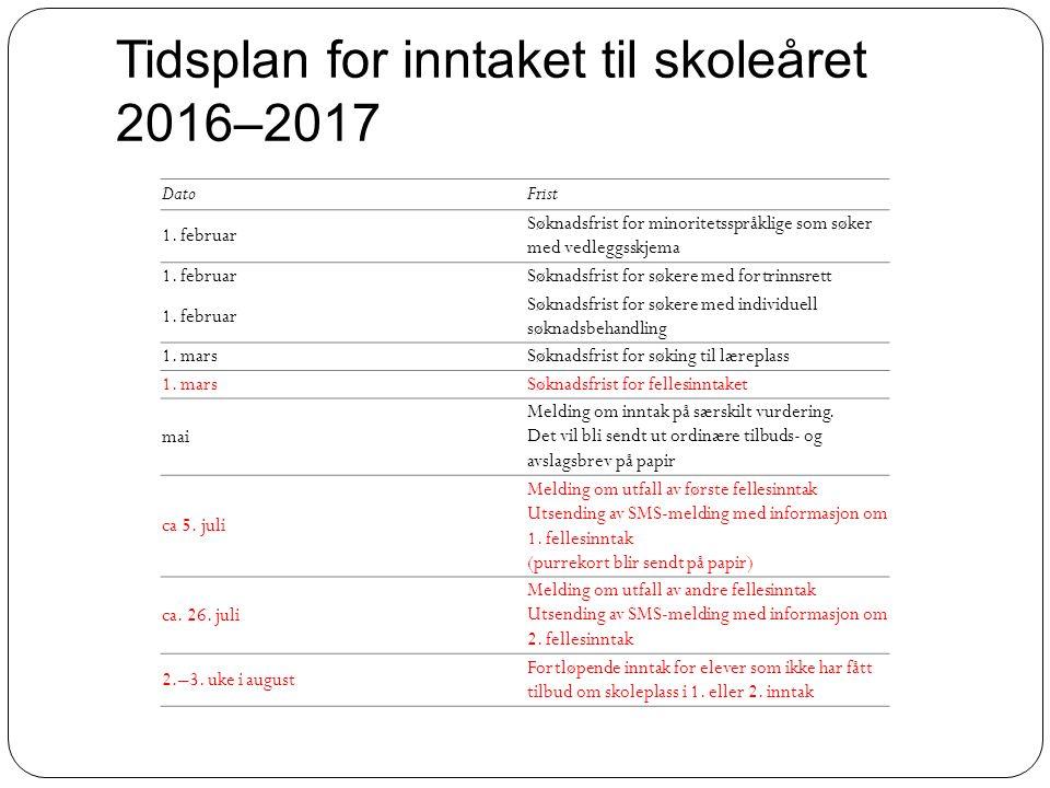 Tidsplan for inntaket til skoleåret 2016–2017 DatoFrist 1. februar Søknadsfrist for minoritetsspråklige som søker med vedleggsskjema 1. februar Søknad