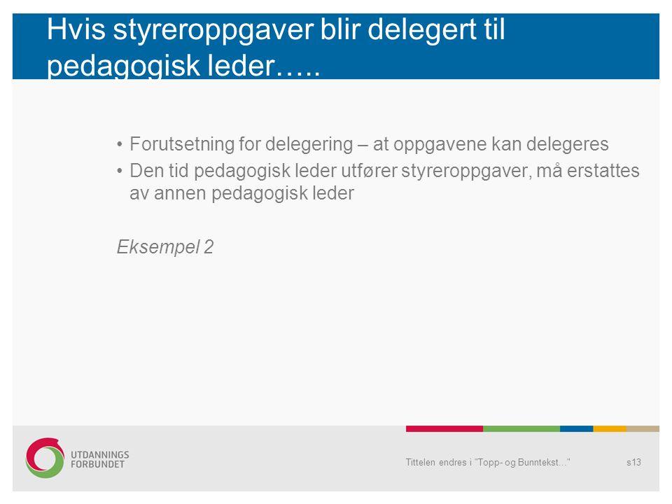 Hvis styreroppgaver blir delegert til pedagogisk leder…..