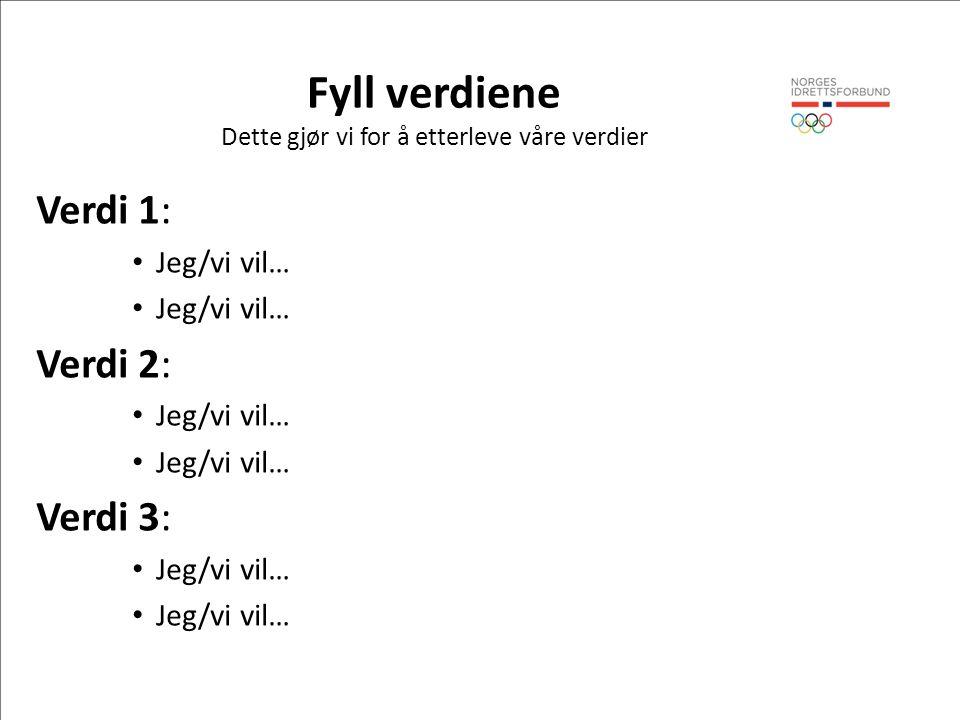 Fyll verdiene Dette gjør vi for å etterleve våre verdier Verdi 1: Jeg/vi vil… Verdi 2: Jeg/vi vil… Verdi 3: Jeg/vi vil…