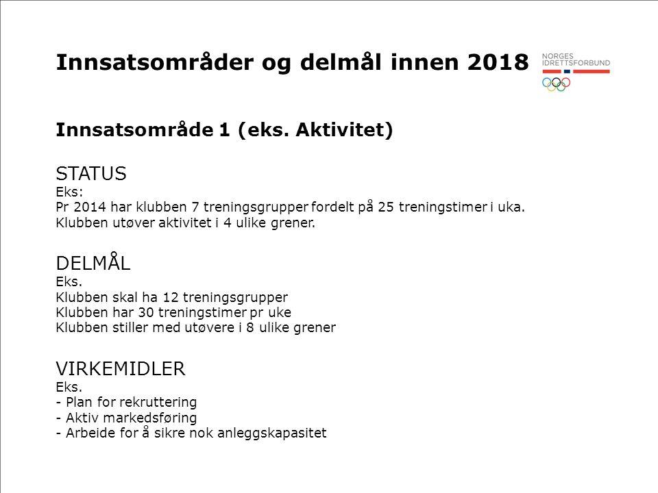 Innsatsområder og delmål innen 2018 Innsatsområde 1 (eks.
