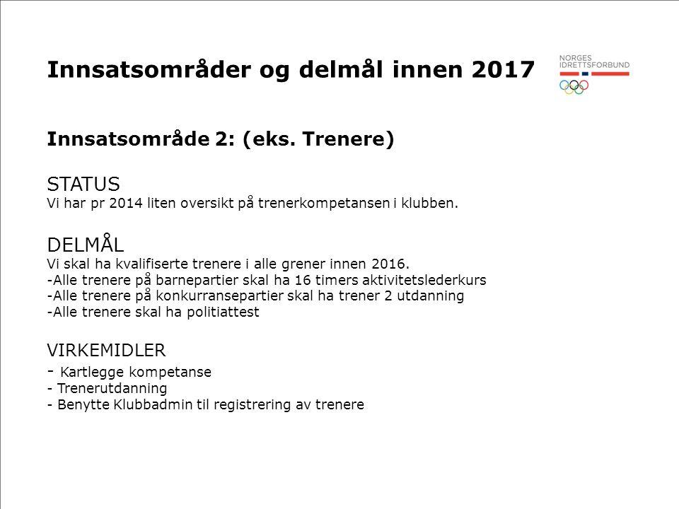 Innsatsområder og delmål innen 2017 Innsatsområde 2: (eks.