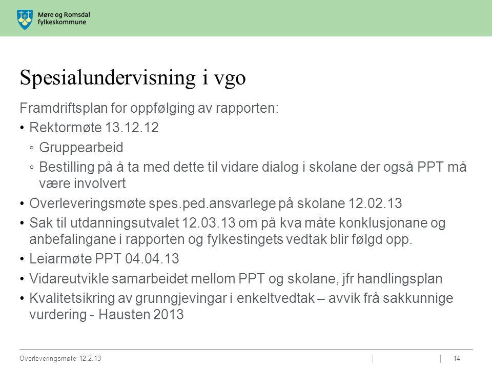 Spesialundervisning i vgo Framdriftsplan for oppfølging av rapporten: Rektormøte 13.12.12 ◦Gruppearbeid ◦Bestilling på å ta med dette til vidare dialo