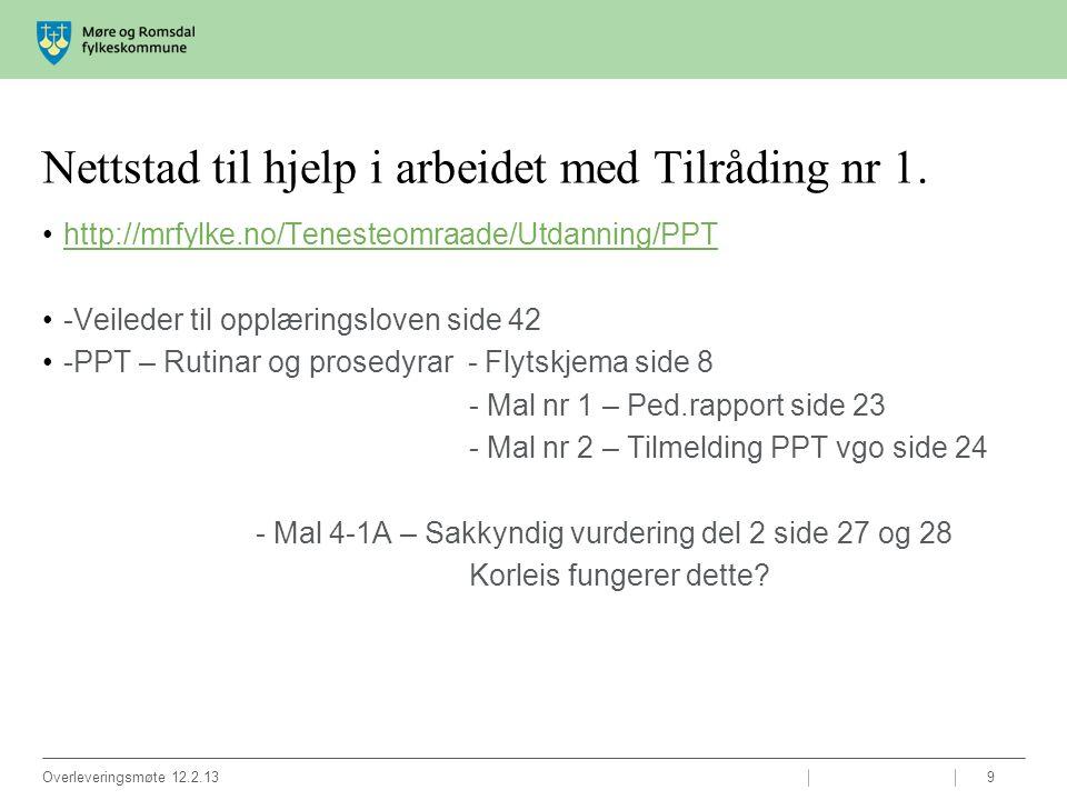 Nettstad til hjelp i arbeidet med Tilråding nr 1. http://mrfylke.no/Tenesteomraade/Utdanning/PPT -Veileder til opplæringsloven side 42 -PPT – Rutinar
